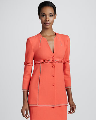 Wool Crepe Jacket, Coral