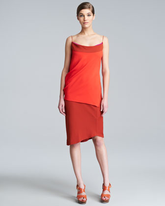 Double-Face Stretch Spaghetti-Strap Dress