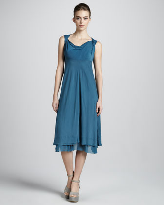 Draped Empire-Waist Dress, Lagoon