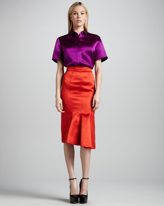 Kick-Front Satin Pencil Skirt