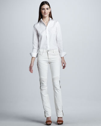 Leather-Stripe Biker Jeans, Plate White