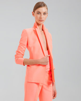 Cotton-Blend Gabardine Jacket, Fluo