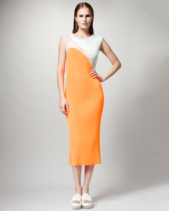 Colorblock Plisse Dress