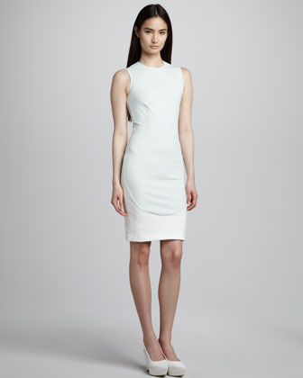 Elliptical-Panel Sheath Dress