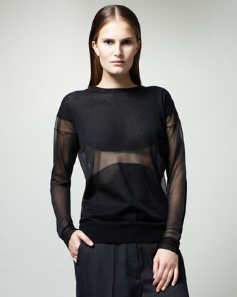 Sheer Intarsia Top