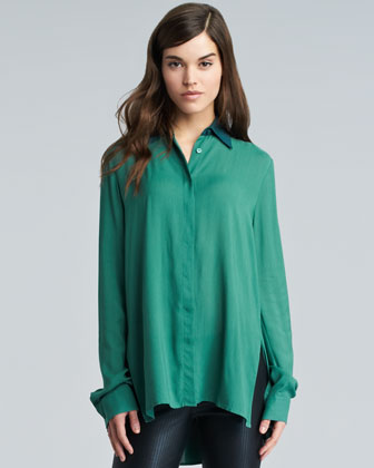 Contrast-Collar Blouse, Willow/Emerald