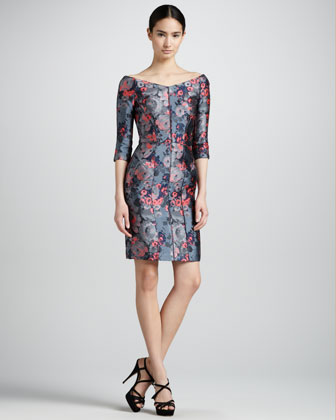 Off-the-Shoulder Floral Jacquard Dress, Blue