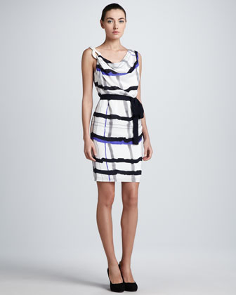 Plaid-Painted Silk Dress, White/Blue/Black