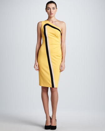 Dondi One-Shoulder Jersey Dress, Yellow