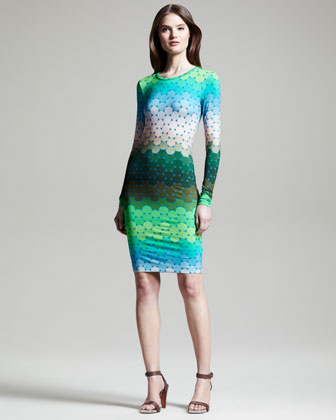 Polka-Dot Ombre Jersey Long-Sleeve Dress