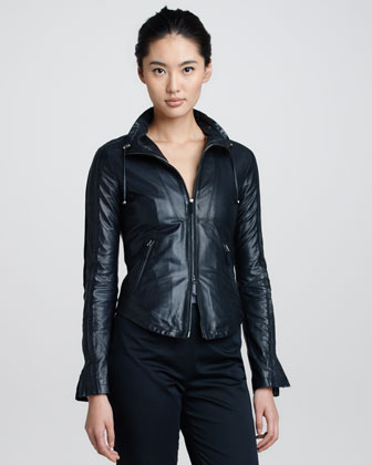 Drawstring-Collar Leather Jacket, Perse