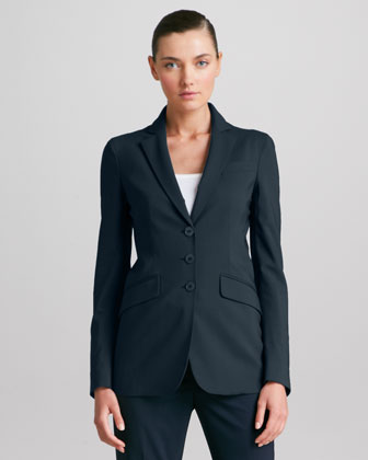 Three-Button Stretch Wool Jacket