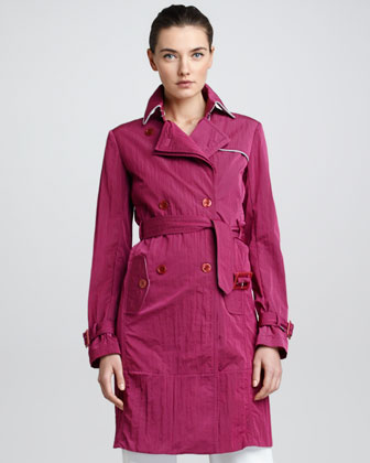Crinkled Tech Fabric Trench Coat, Raspberry