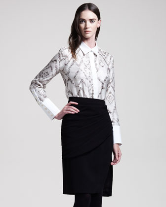 Arun Draped Pencil Skirt