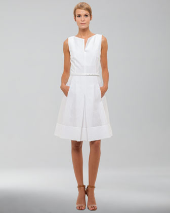 Sleeveless Eyelet Dress, White