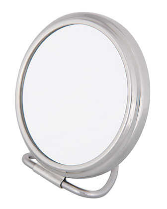Chrome Stand Folding Double Sided Purse Mirror, 2.75