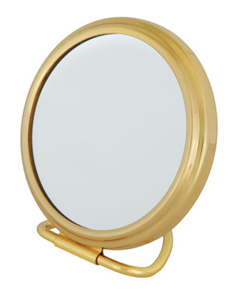 Brass Stand Folding Double Sided Purse Mirror, 2.75