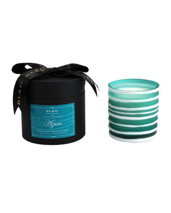 Azure Botanic Candle in Thick-Striped Artisan Vessel