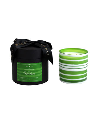 Verdure Botanic Candle in Thick-Striped Artisan Vessel