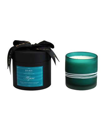Azure Botanic Candle in Thin-Striped Artisan Vessel