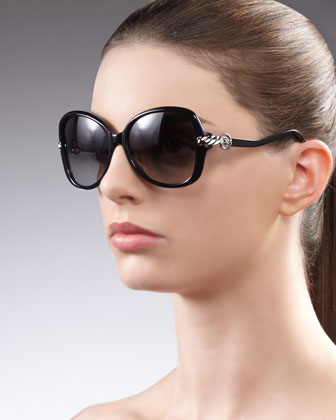 Signature Cable Butterfly Sunglasses, Black