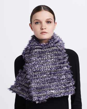 Tinsel-Striped Tweed Scarf, Lilac