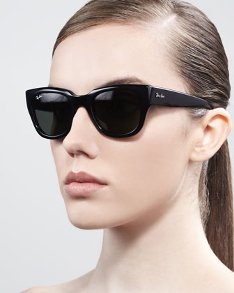 Cat-Eye Sunglasses, Shiny Black