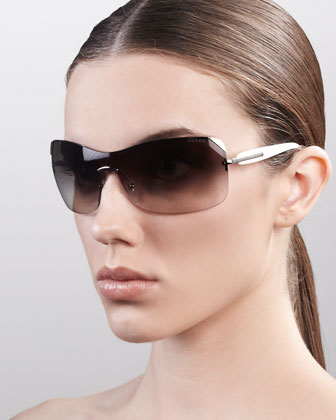 Timeless Shield Sunglasses, Pale Golden