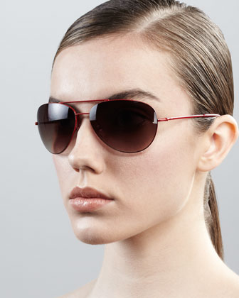 Hilary Aviator Sunglasses, Red
