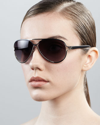 Stella Aviator Sunglasses, Black