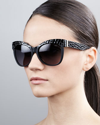 Pebble-Textured Cat-Eye Sunglasses, Black/Golden