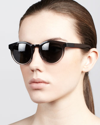 Leather-Arm Round Sunglasses, Gray/Brown
