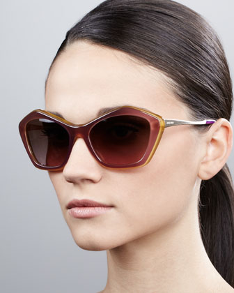 Pentagon Cat-Eye Sunglasses, Violet/Sun