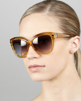Transparent-Framed Cat-Eye Sunglasses, Ochre