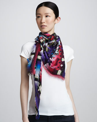 Mixed Damask Stripe Scarf, Pink