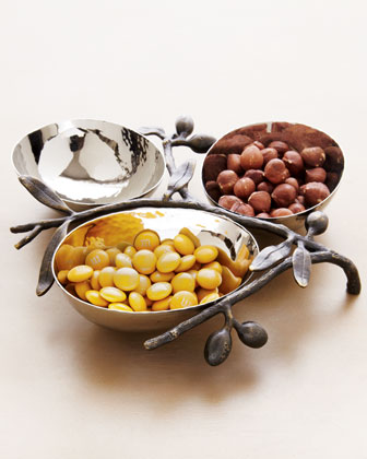 Olive Branch Triple Nut Bowl