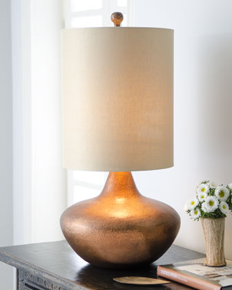 Hammered Copper Drum Lamp