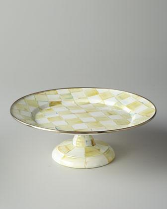 Parchment Check Pedestal Platters