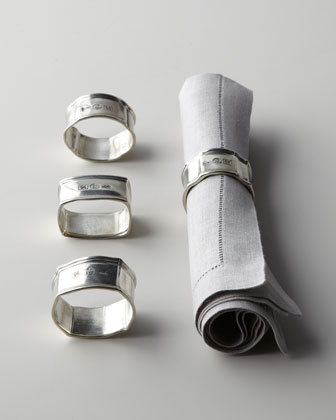 Four Assorted Pewter Napkin Rings