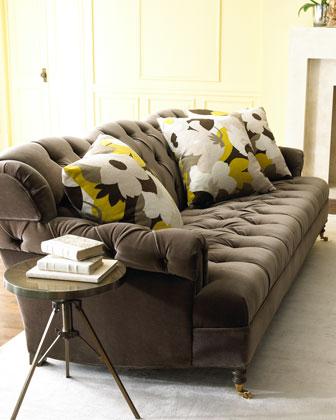 Berlin Velvet Sofa & Floral Mod Pillow