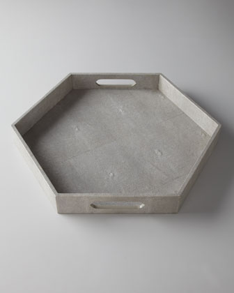Ivory Faux-Shagreen Hex Tray
