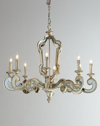 Architectural Eight-Light Mirrored Chandelier