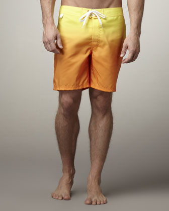 Rainbow Degrade Swim Trunks, Yellow/Orange