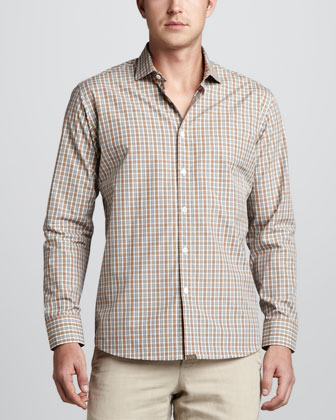 John T Check Sport Shirt, Light Blue/Orange