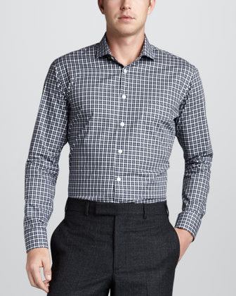 Check Sport Shirt, Navy/Gray