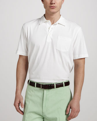 Satin-Wash Pocket Polo, White