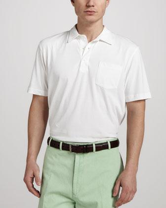 Satin-Wash Pocket Polo, White