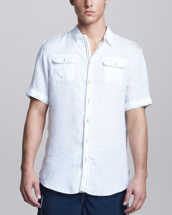 Topstitched Short-Sleeve Military Shirt
