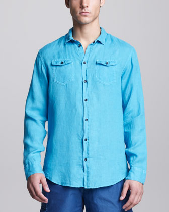 Two-Pocket Linen Shirt, Aqua