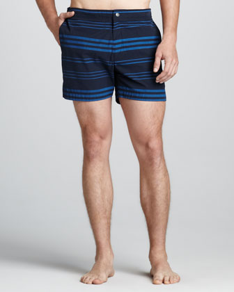 Kosmor Striped Swim Trunks, Navy